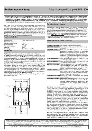Bedienungsanleitung fritec - Ladeprofi kompakt BV11800