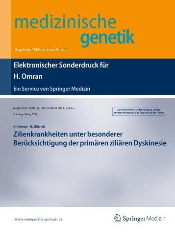 Medizinische Genetik - Arbeitsgruppe Prof. Dr. med. Heymut Omran