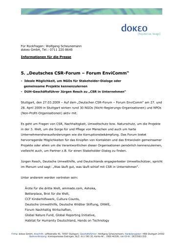 """5. """"Deutsches CSR-Forum – Forum EnviComm"""""""