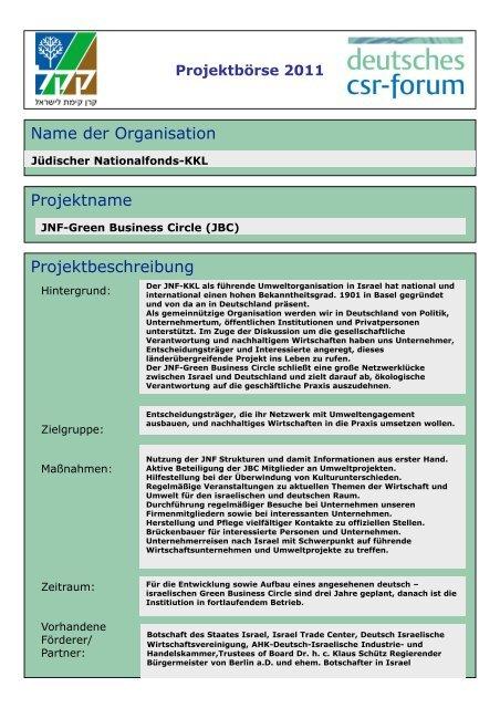 Projektbörse 2011 - Deutsches CSR-Forum