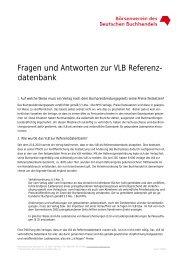 Fragen und Antworten zum VLB als Referenzdatenbank