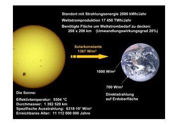 Solarkonstante 1367 W/m2 Die Sonne: Effektivtemperatur: 5504 °C ...