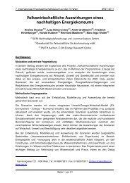 Volkswirtschaftliche Auswirkungen eines nachhaltigen ... - EEG