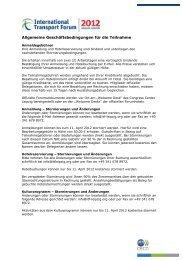 Allgemeine Geschäftsbedingungen für die Teilnahme - International ...