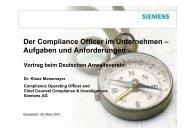 Der Compliance Officer im Unternehmen - Deutscher Anwaltverein