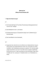 Satzung der Allianz Pensionskasse AG - R+V Versicherung