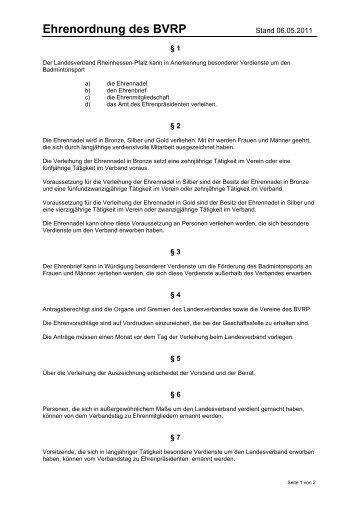 Ehrenordnung, Stand: Juni 2011