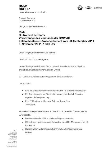 Rede Von Dr Norbert Reithofer Bmw Group