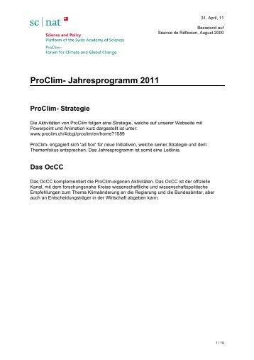 ProClim-Jahresprogramm 2011rev - OcCC - SCNAT