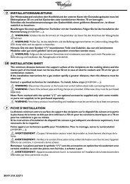 installationsanleitung installation sheet fiche d'installation - whirlpool ...