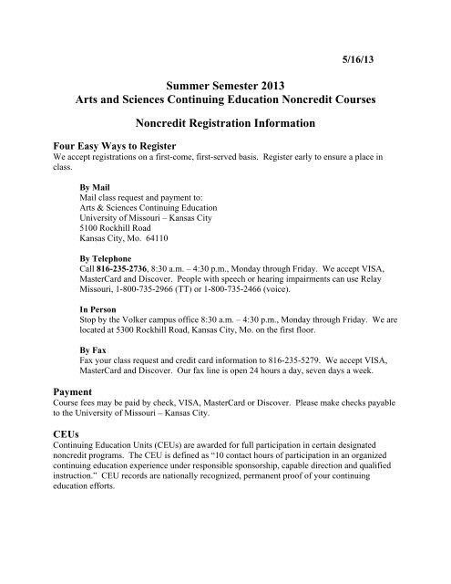 Non-Credit Courses - College of Arts and Sciences - University of ...
