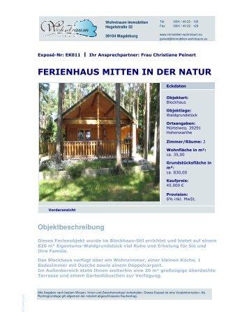 FERIENHAUS MITTEN IN DER NATUR - Immobilien-wohntraum.eu