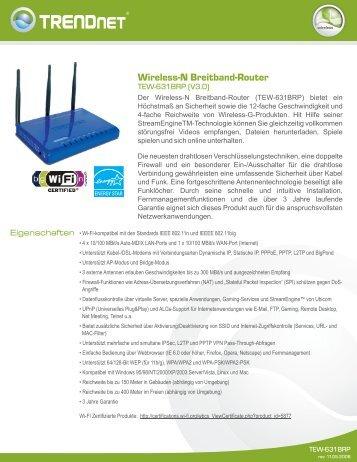 Wireless-N Breitband-Router - Downloads - TRENDnet