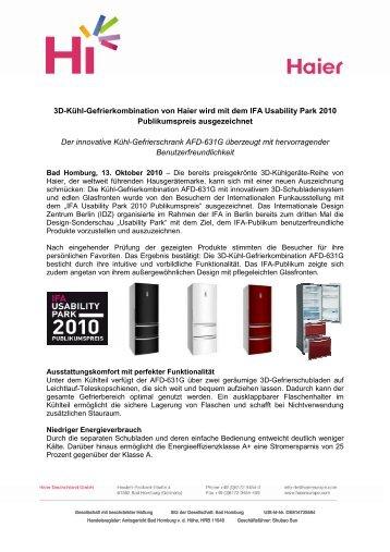 3D-Kühl-Gefrierkombination von Haier wird mit dem IFA ... - Haier.com