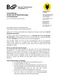 Ausschreibung für den Kurs für Meutenführungen in Immenhausen