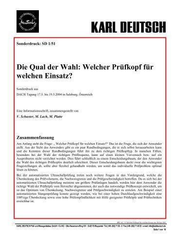 Die Qual der Wahl: Welcher Prüfkopf für welchen ... - Karl Deutsch