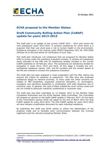 Draft Community Rolling Action Plan (CoRAP) - ECHA - Europa