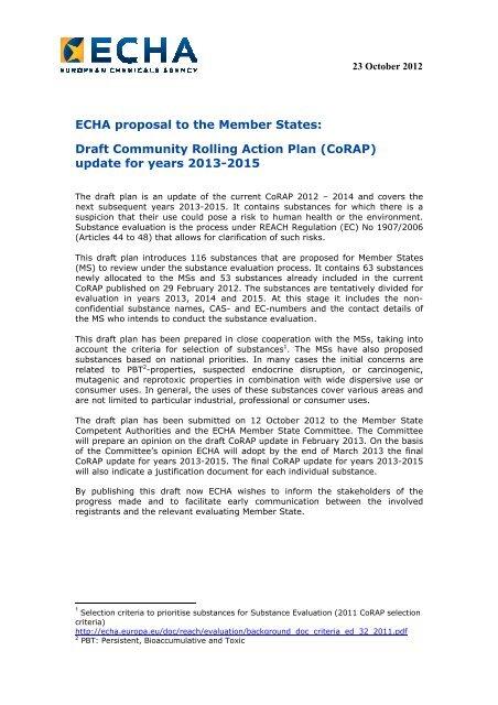 Draft Community Rolling Action Plan (CoRAP) - ECHA - Europa