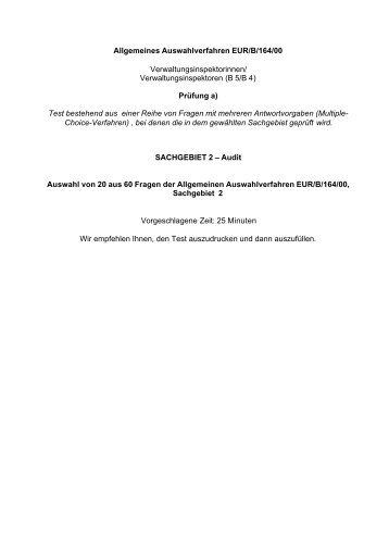 Allgemeines Auswahlverfahren EUR/B/164/00 ... - Europa