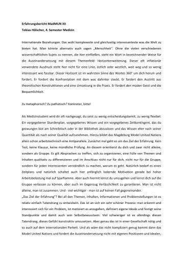Erfahrungsbericht MadMUN XII Tobias Hölscher, 4. Semester ...