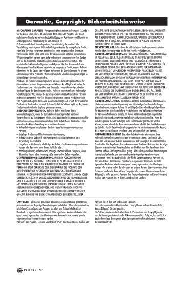 Garantie, Copyright, Sicherheitshinweise - Polycom