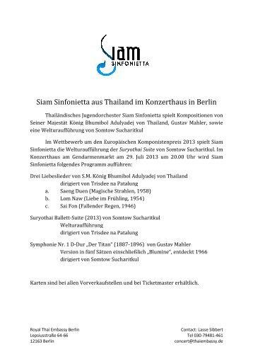 Siam Sinfonietta aus Thailand Sinfonietta aus Thailand im ...