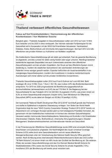Thailand verbessert öffentliches Gesundheitswesen - Deutsch ...