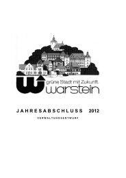Jahresabschluss 2012 - Verwaltungsentwurf - Warstein
