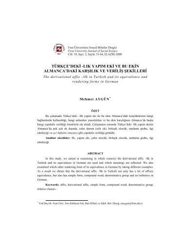 TÜRKÇE'DEKİ -LIK YAPIM EKİ VE BU EKİN ... - Fırat Üniversitesi