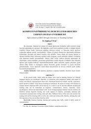 kompetenzförderung durch literarisches lernen im ... - Fırat Üniversitesi