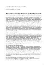 Plädoyer für selbständiges Lernen im Mathematikunterricht
