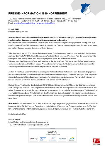 PRESSE-INFORMATION 1899 HOFFENHEIM - TSG 1899 Hoffenheim