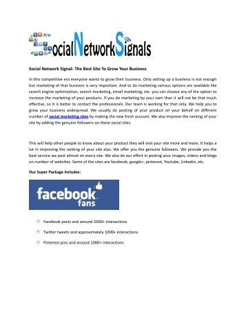 Social Network Signal- The Best Site To Grow Your Business