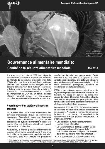 Gouvernance alimentaire mondiale: - ACORD