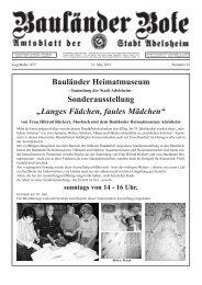 "Bauländer Heimatmuseum Sonderausstellung ""Langes ... - Adelsheim"
