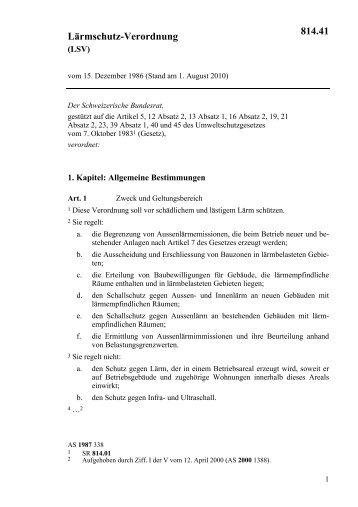 Lärmschutz-Verordnung 814.41 - admin.ch