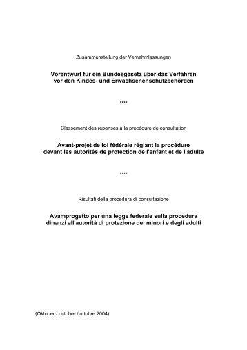 Vorentwurf für ein Bundesgesetz über das Verfahren vor ... - admin.ch