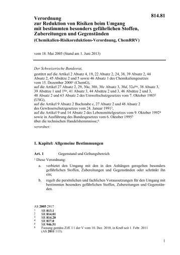 Chemikalien-Risikoreduktions-Verordnung - admin.ch