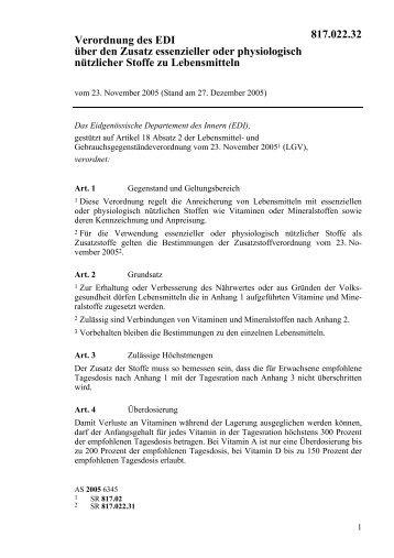 Verordnung des EDI über den Zusatz essenzieller oder ... - admin.ch
