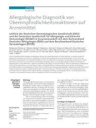Allergologische Diagnostik von Überempfindlichkeitsreaktionen auf ...