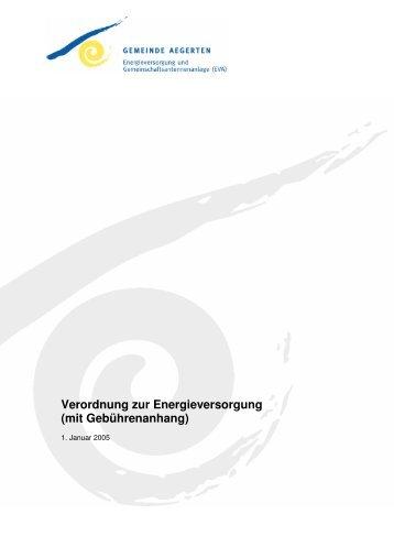 Verordnung zur Energieversorgung (mit Gebührenanhang) - Aegerten