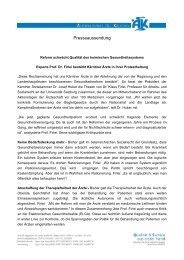 Presseaussendung - Ärztekammer für Kärnten