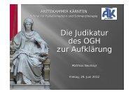 Die Judikatur des OGH zur Aufklärung - Ärztekammer für Kärnten