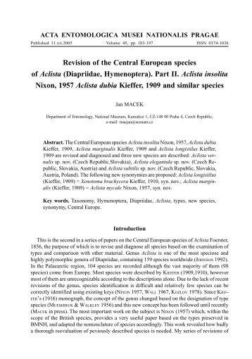 Part II. Aclista insolita Nixon, 1957 Aclista dub - Acta Entomologica ...