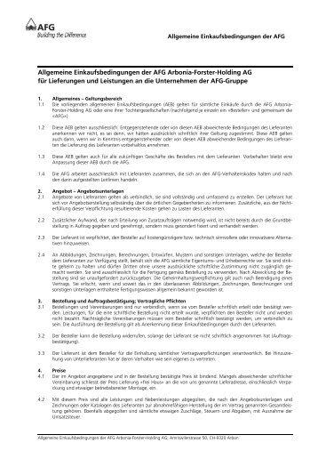 Allgemeine Einkaufsbedingungen der AFG Arbonia ... - bei der AFG