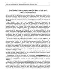 Weiterführung des Archiv für Naturschutz und ... - AFSV