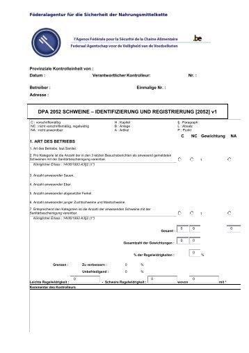 DPA 2052 SCHWEINE – IDENTIFIZIERUNG UND ...
