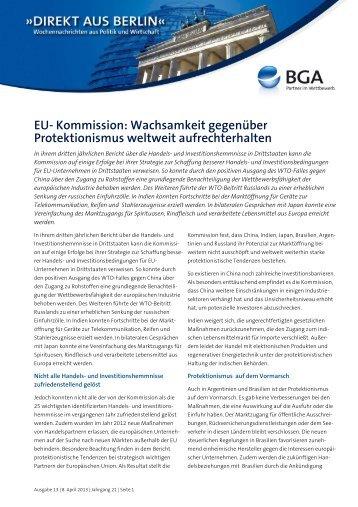 EU- Kommission: Wachsamkeit gegenüber Protektionismus ... - AGAD