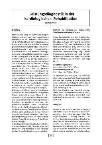 Leistungsdiagnostik in der kardiologischen Rehabilitation - AGAKAR