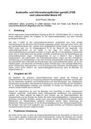 Auskunfts- und Informationspflichten gem LFGB